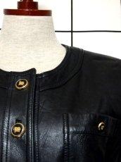 画像9: 本革レザー ブラック ノーカラー レトロ ヨーロッパ古着 ヴィンテージジャケット【2824】 (9)