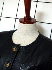 画像8: 本革レザー ブラック ノーカラー レトロ ヨーロッパ古着 ヴィンテージジャケット【2824】 (8)