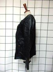 画像6: 本革レザー ブラック ノーカラー レトロ ヨーロッパ古着 ヴィンテージジャケット【2824】 (6)
