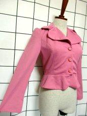 画像4: ペプラムデザイン 大きな襟 ピンク レトロ ヨーロッパ古着 長袖 ヴィンテージジャケット【3618】 (4)