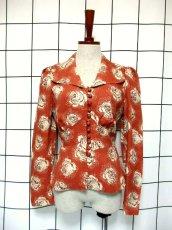 画像2: 薔薇柄 大きな襟 レトロ ヨーロッパ古着 ヴィンテージジャケット【2586】 (2)