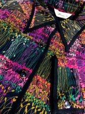画像12: 小さなリーフ模様 ブラック 70's 長袖 昭和レトロ 国産古着 ヴィンテージブラウス【192】 (12)