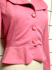 画像11: ペプラムデザイン 大きな襟 ピンク レトロ ヨーロッパ古着 長袖 ヴィンテージジャケット【3618】 (11)