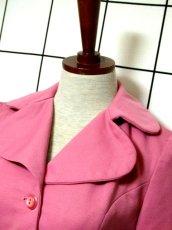 画像8: ペプラムデザイン 大きな襟 ピンク レトロ ヨーロッパ古着 長袖 ヴィンテージジャケット【3618】 (8)