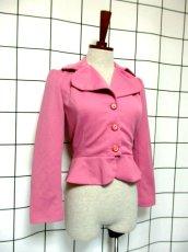 画像7: ペプラムデザイン 大きな襟 ピンク レトロ ヨーロッパ古着 長袖 ヴィンテージジャケット【3618】 (7)