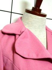 画像10: ペプラムデザイン 大きな襟 ピンク レトロ ヨーロッパ古着 長袖 ヴィンテージジャケット【3618】 (10)