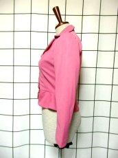 画像6: ペプラムデザイン 大きな襟 ピンク レトロ ヨーロッパ古着 長袖 ヴィンテージジャケット【3618】 (6)