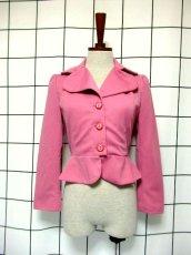 画像2: ペプラムデザイン 大きな襟 ピンク レトロ ヨーロッパ古着 長袖 ヴィンテージジャケット【3618】 (2)