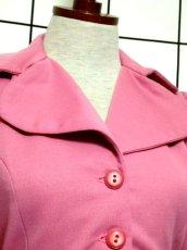 画像3: ペプラムデザイン 大きな襟 ピンク レトロ ヨーロッパ古着 長袖 ヴィンテージジャケット【3618】 (3)