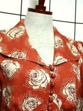 画像3: 薔薇柄 大きな襟 レトロ ヨーロッパ古着 ヴィンテージジャケット【2586】 (3)