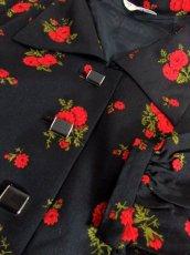 画像13: 花柄 70's ブラック 長袖 昭和レトロ 国産古着 レトロワンピース 【1977】 (13)