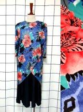 画像1: フランス製 80's ブルー ブラック レトロ 長袖 ヨーロッパ古着 ヴィンテージドレス 【4885】 (1)