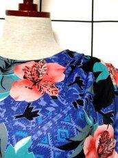 画像11: フランス製 80's ブルー ブラック レトロ 長袖 ヨーロッパ古着 ヴィンテージドレス 【4885】 (11)