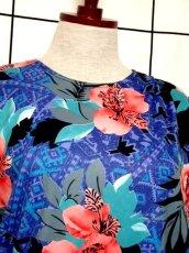 画像3: フランス製 80's ブルー ブラック レトロ 長袖 ヨーロッパ古着 ヴィンテージドレス 【4885】 (3)