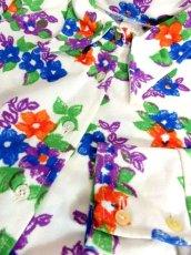 画像11: 花柄 ホワイト レトロ ヨーロッパ古着 長袖 シャツ ヴィンテージブラウス【7233】 (11)