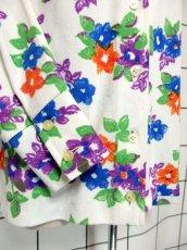 画像10: 花柄 ホワイト レトロ ヨーロッパ古着 長袖 シャツ ヴィンテージブラウス【7233】 (10)
