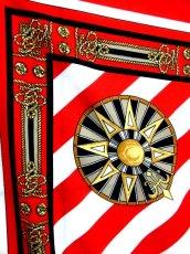 画像5: レトロアンティーク ヴィンテージスカーフ レッド ホワイト ストライプ ヨーロッパ【7237】 (5)