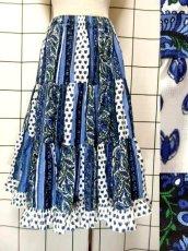 画像1: プロバンススカート フランス製 ティアード ヴィンテージ ブルー ホワイト ウエストゴム フォークロア レトロ ヨーロッパ古着【7454】 (1)