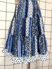 画像6: プロバンススカート フランス製 ティアード ヴィンテージ ブルー ホワイト ウエストゴム フォークロア レトロ ヨーロッパ古着【7454】 (6)