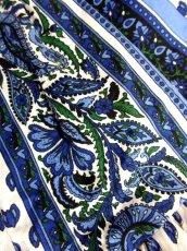 画像8: プロバンススカート フランス製 ティアード ヴィンテージ ブルー ホワイト ウエストゴム フォークロア レトロ ヨーロッパ古着【7454】 (8)