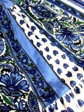 画像9: プロバンススカート フランス製 ティアード ヴィンテージ ブルー ホワイト ウエストゴム フォークロア レトロ ヨーロッパ古着【7454】 (9)