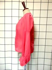 画像6: 無地 ピンク ノーカラー ヨーロッパ古着 長袖 シャツ ヴィンテージブラウス【7505】 (6)