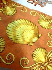 画像6: レトロアンティーク ヴィンテージスカーフ ヨーロッパ マリン 魚柄 貝柄 サンゴ柄【7545】 (6)