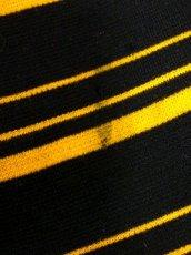 画像16: ボーダー柄 ブラック イエロー 長袖 レトロ ヨーロッパ古着 ヴィンテージワンピース【7540】 (16)