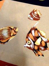 画像9: レトロアンティーク ヴィンテージスカーフ ヨーロッパ マリン 魚柄 貝柄 サンゴ柄【7545】 (9)