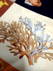 画像7: レトロアンティーク ヴィンテージスカーフ ヨーロッパ マリン 魚柄 貝柄 サンゴ柄【7545】 (7)