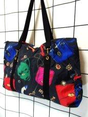 画像3: 80's アクセサリー柄 バッグ柄 ブラック カラーリングが素敵 レディース レトロ ヴィンテージ 鞄 バッグ【7549】 (3)