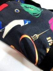 画像14: 80's アクセサリー柄 バッグ柄 ブラック カラーリングが素敵 レディース レトロ ヴィンテージ 鞄 バッグ【7549】 (14)