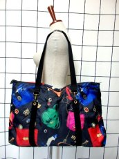 画像1: 80's アクセサリー柄 バッグ柄 ブラック カラーリングが素敵 レディース レトロ ヴィンテージ 鞄 バッグ【7549】 (1)