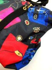 画像13: 80's アクセサリー柄 バッグ柄 ブラック カラーリングが素敵 レディース レトロ ヴィンテージ 鞄 バッグ【7549】 (13)
