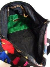 画像9: 80's アクセサリー柄 バッグ柄 ブラック カラーリングが素敵 レディース レトロ ヴィンテージ 鞄 バッグ【7549】 (9)