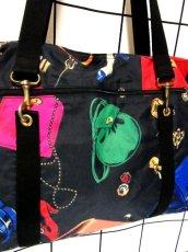 画像5: 80's アクセサリー柄 バッグ柄 ブラック カラーリングが素敵 レディース レトロ ヴィンテージ 鞄 バッグ【7549】 (5)