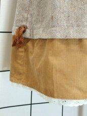 画像7: ツイード コーデュロイ レース リボン装飾 フォークロア調 レトロ ヨーロッパ古着 ヴィンテージスカート【7567】 (7)