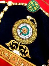 画像3: レトロアンティーク ヴィンテージスカーフ 時計柄 ヨーロッパ Italy【7593】 (3)