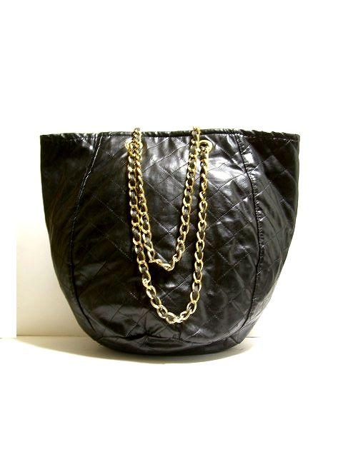 画像1: 80's ブラック フェイクレザー 大きめサイズ レディース レトロ ショルダー 鞄 バッグ【1802】 (1)