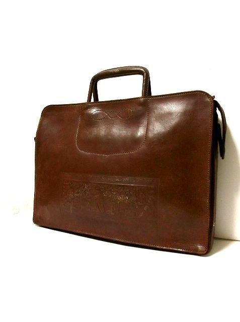 画像1: 型押し ブラウン 本革レザー 重厚感 レディース レトロ ハンド 鞄 バッグ【2241】 (1)