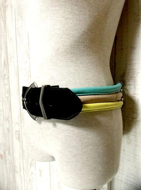 画像1: 個性的 マルチカラー レザー レトロアンティーク ヴィンテージ USA 古着 ベルト【2479】 (1)