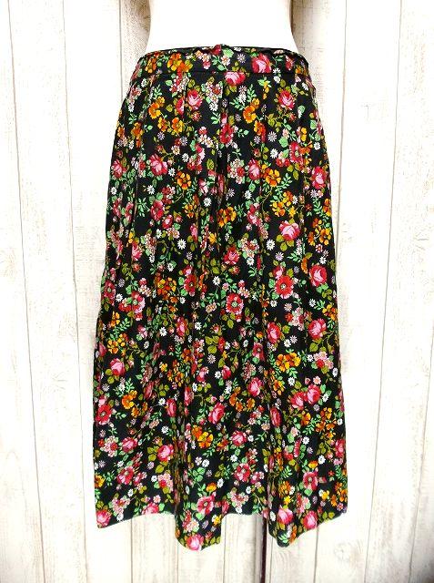 画像1: ☆ ヨーロッパヴィンテージ お花畑のようなアンティークフラワープリント柄♪乙女ガーリーフレアスカート ☆ (1)