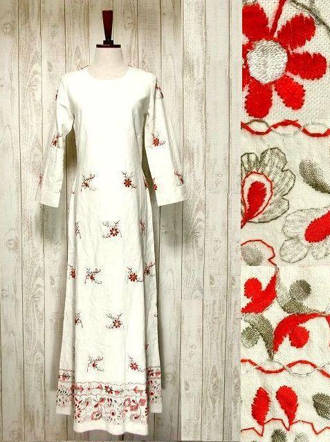 ヨーロッパ古着 見事な花刺繍!!大人フォークロアスタイル♪ヴィンテージドレスワンピース