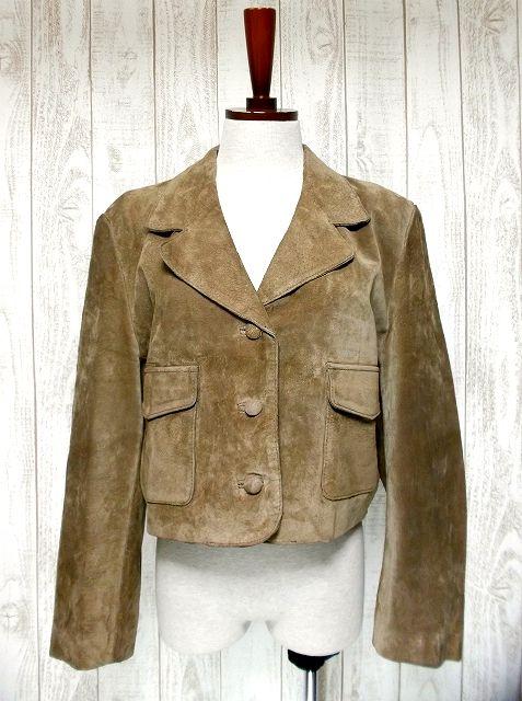 画像1: 本革レザージャケット USA古着 レトロな襟のカタチ&くるみボタン♪大人レトロフォークロア (1)