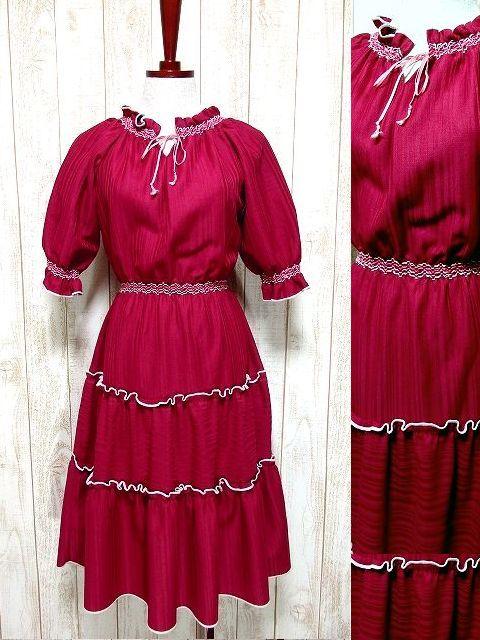 画像1: ヨーロッパ古着 ティアード状に装飾されたフリルが可愛い〜!!ふんわりパフスリーブ♪胸元リボン結び。乙女ガーリーなヴィンテージドレス (1)