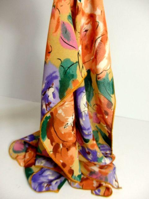 画像1: レトロアンティーク ヴィンテージスカーフ 花柄 水墨画モチーフ【4261】 (1)