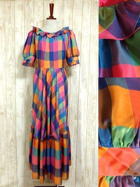 画像1: ヨーロッパ古着 チェック柄×フリルの組み合わせが可愛い♪ふんわり後ろ姿もGood〜★レトロガーリーなヨーロピアンヴィンテージドレス (1)