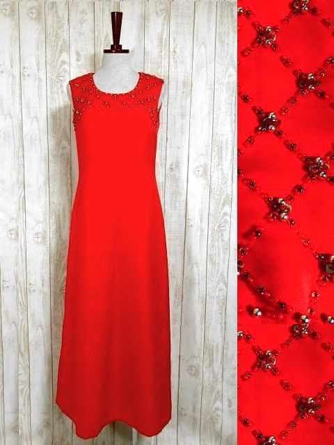 画像1: ヨーロッパ古着 スパンコール装飾が素晴らしい!!華やかな印象★大人クラシカルな上質ヴィンテージドレス (1)