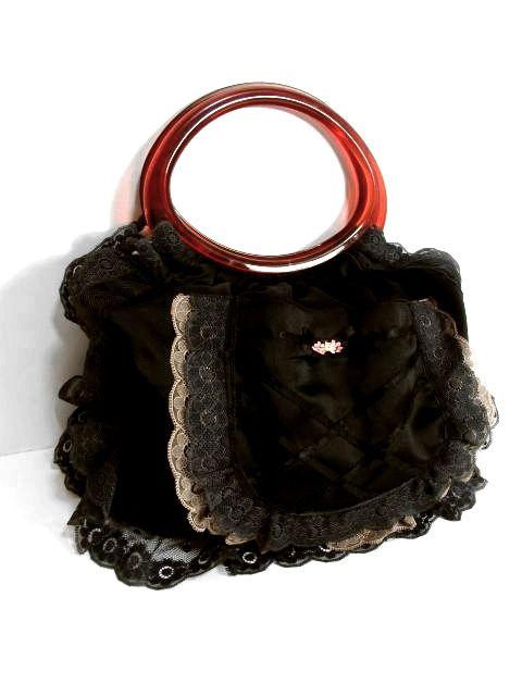 画像1: レース ブラック リボン 持ち手が可愛い ガーリー レディース レトロ 鞄 バッグ【4307】 (1)