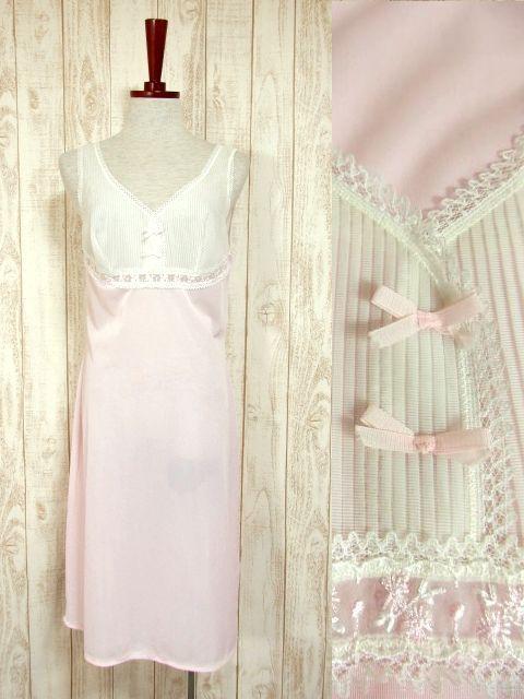 画像1: ヨーロッパ古着 ワンピースにはもちろん♪重ね着にも便利で可愛い!!ヨーロッパスリップドレスワンピース オフホワイト×ペールピンク (1)